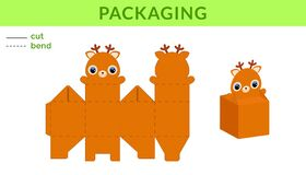 Free Adorable DIY Party Favor Box For Birthdays, Baby Showers With Cute Deer For Sweets, Candies, Small Presents. Printable Color Royalty Free Stock Images - 182592049