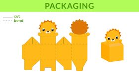 Free Adorable DIY Party Favor Box For Birthdays, Baby Showers With Cute Lion For Sweets, Candies, Small Presents. Printable Color Royalty Free Stock Photography - 182592097