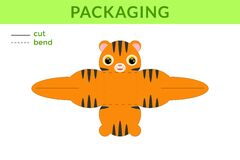 Free Adorable DIY Party Favor Box For Birthdays, Baby Showers With Cute Tiger For Sweets, Candies, Small Presents, Bakery. Printable Stock Image - 182928651