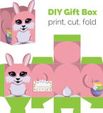 Adorable Do It Yourself DIY Easter bunny with egg gift box with ears for sweets, candies, small presents. Printable. Color scheme. Print it on thick paper, cut Stock Photo