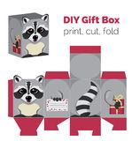 Adorable Do It Yourself raccoon gift box with ears for sweets, candies, small presents. Printable color scheme. Print it on thick paper, cut out, fold Royalty Free Stock Images