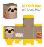 Adorable Do It Yourself sloth gift box for sweets, candies, small presents. Royalty Free Stock Image