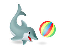 Adorable dolphin. Playing with ball Stock Photo