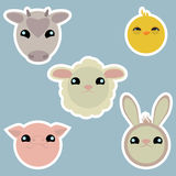 Adorable domestic animals stickers Stock Photo