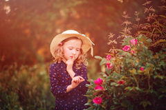 Adorable dreamy child girl in straw on the walk on summer sunset field Stock Photography