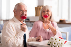 Adorable elderly couple holding up red lollipops Royalty Free Stock Images