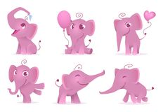 Adorable elephants. Cute and funny happy african baby animals love emotions vector cartoon characters isolated stock illustration