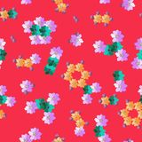 Adorable fabric with molecules from hand drawn flowers. Stock Photo