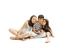 Adorable family. Two sister and brother Royalty Free Stock Photography