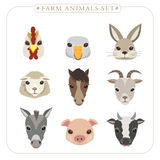 Adorable farm animals set Stock Images