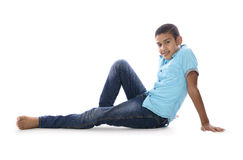 Adorable Fashion Boy Posing for Photo Stock Images