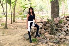 Indian Fashion Model Photoshoot in Black royalty free stock photography