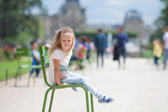 Adorable fashion little girl outdoors in European Royalty Free Stock Image