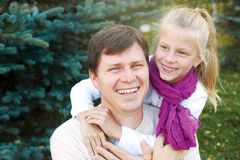Adorable father and daughter have fun together happy smiles. hea Royalty Free Stock Image