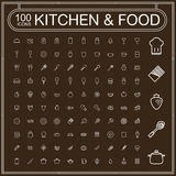 Adorable food and kitchenware icons set Royalty Free Stock Images