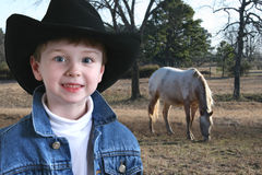 Adorable Four Year Old Cowboy stock images