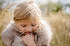 Adorable freezing girl Royalty Free Stock Images
