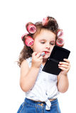 Adorable funny little girl making makeup with mother cosmetics Royalty Free Stock Photos