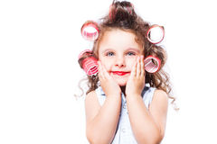 Adorable funny little girl making makeup with mother cosmetics Stock Image