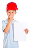 Adorable future architect. isolated Royalty Free Stock Photo