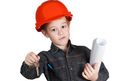 Adorable future architect over a white background Royalty Free Stock Photo
