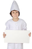 Adorable future cook whit billboard Stock Photos