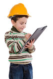 Adorable future engineer writing isolated Stock Images