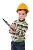 Adorable future engineer writing isolated Stock Photos