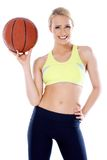 Adorable girl with basket ball Stock Photography