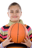 Adorable girl with basketball Royalty Free Stock Images