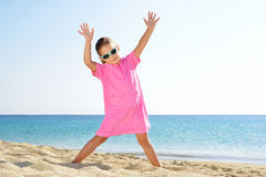 Adorable girl at beach Stock Images