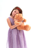 Adorable Girl with Bear. Sweet little girl with a stuffed bear Royalty Free Stock Photography