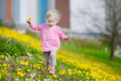 Adorable girl in blooming dandelion flowers Royalty Free Stock Images