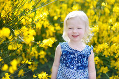 Adorable girl in blooming yellow flowers Royalty Free Stock Images