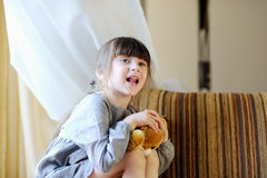 Adorable girl with bunny Royalty Free Stock Photos