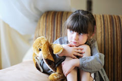 Adorable girl with bunny Royalty Free Stock Photo