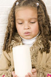 Adorable girl with candle Royalty Free Stock Images