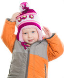 Adorable girl dressing up winter jacket and hat Stock Images