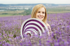Adorable girl in fairy field of lavender Stock Photos
