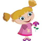 Adorable Girl With Flower. Little girl just found a cute little flower Royalty Free Stock Photos
