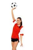 Adorable girl with football Stock Image