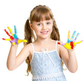 Adorable girl with hands painted in bright colors isolated Stock Photo