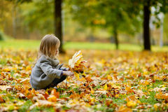 Adorable girl having fun on autumn day Royalty Free Stock Photos