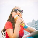 Adorable girl with ice cream Royalty Free Stock Photos