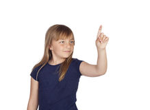 Adorable girl indicating something with the finger Stock Photo