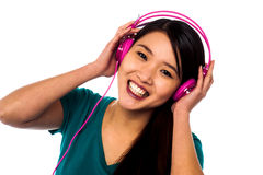 Adorable girl listening to music Royalty Free Stock Images