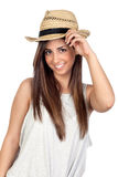 Adorable girl with long hair and straw hat Royalty Free Stock Photography