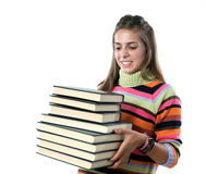Adorable girl with many books Stock Images