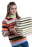 Adorable girl with many books royalty free stock photo