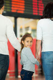 Adorable girl parents airport Stock Photography